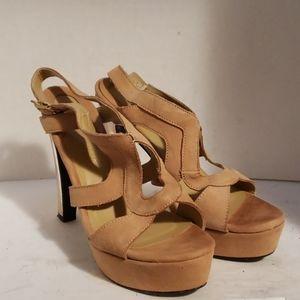 Boston Proper tan suede sandals shoes size 8.5